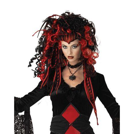 Парик ведьмы черно красный